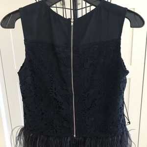 Lace and feathers navy top